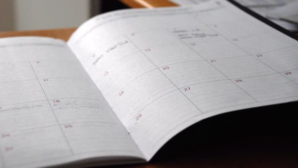 Image of a two page calendar